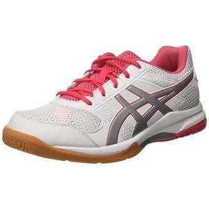 Asics Gel-Rocket 8, Chaussures de Volleyball Femme, Blanc Cassé (White/Rouge Red/Silver), 41.5 EU