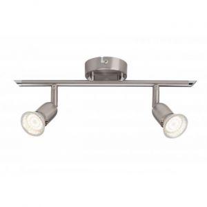 Brilliant AG Plafonnier LED à 2 lumières Loona 2xGU10 3W acier