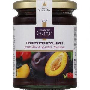 Monoprix gourmet Confiture prune, baie d'églantier, framboise