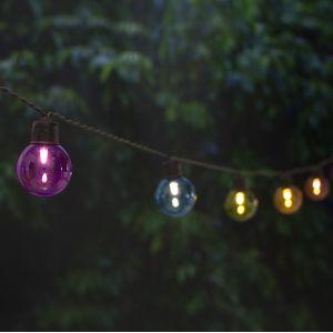 Cemonjardin Guirlande lumineuse solaire 20 ampoules rondes couleur