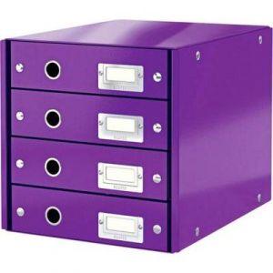 Leitz 6049-00-62 - Bloc 4 tiroirs Click & Store, format A4, en PP, coloris violet