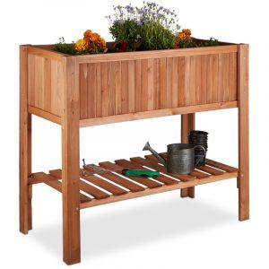 Relaxdays 10020744 Potager sur pied en bois de sapin 4 pieds surface inférieur rangement jardiniere bac à fleurs pot HxlxP: 80 x 88 x 43,5 cm, brun rouge