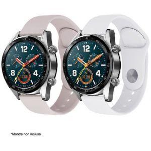 Ibroz Bracelet Samsung/Huawei SoftTouch blanc 22mm