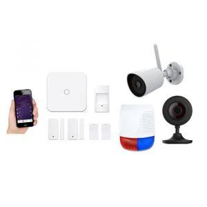New Deal Pack alarme avec 2 caméras ND-L15OV - Livrée avec 2 contacteurs, 2 télécommandes, 1 détecteur de mouvement, 1 sirène extérieure, 2 caméras