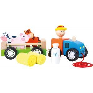 Legler 10242 - Tracteur en bois avec animaux à tirer