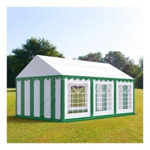 Intent24 Tente de réception 4 x 6 m PVC vert-blanc