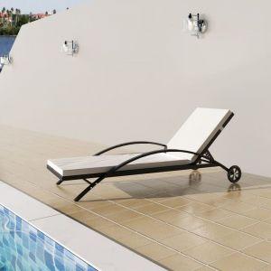 VidaXL Chaise longue rotin synthétique noir à roulettes