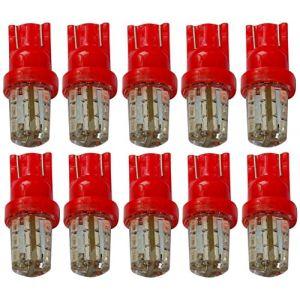 Aerzetix : 10x ampoule T10 W5W 12V 24LED SMD SILICA GEL rouge veilleuses éclairage intérieur seuils de porte plafonnier pieds lecteur de carte coffre compartiment moteur