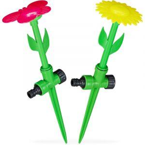 Relaxdays Fleur arroseuse Lot de 2 arroseurs Jardin Tuyau arrosage enfant 1/2'' HxD: 34x10 cm, rouge/jaune