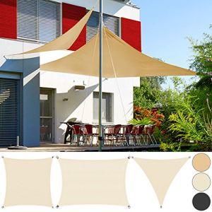 Deuba Detex Voile d'ombrage Protection contre le vent Auvent PEHD Triangulaire 3x3x3m Crème Jardin balcon terrasse