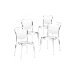 Declikdeco Lot de 4 Chaises Empilables Transparent SOPHYA
