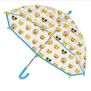Perletti Parapluie cloche transparent enfant EMOJI - Ouverture sécurisée - Poignée bleue