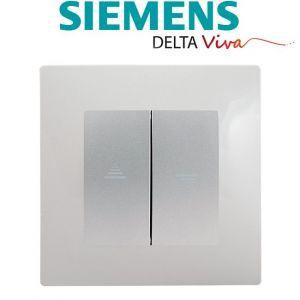 Siemens Interrupteur Volet Roulant Silver Delta Viva + Plaque Gris