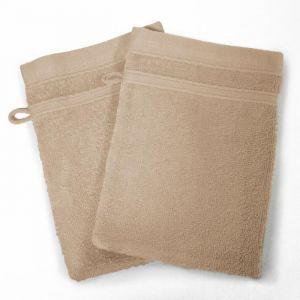 Lot de 2 gants de toilette 100% coton Vitamine 15x21 cm taupe