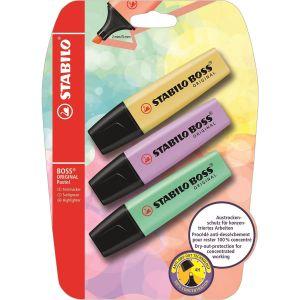 Stabilo Surligneur 50598%u201310%u2013Boss Original Pastel Lot de 3lueur d', pudriges Jaune/Violet/Touche Menthe