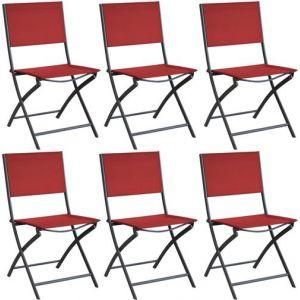 Proloisirs Chaise pliante en acier et toile Dream (Lot de 6) Gris Rouge