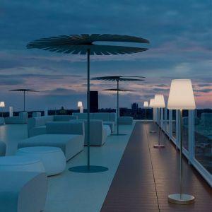 New Garden Lampadaire extérieur LOLA SLIM-Lampadaire d'extérieur LED solaire rechargeable avec télécommande H120cm Gris