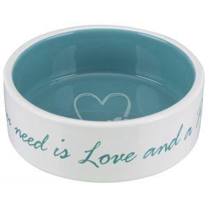 Trixie Écuelle céramique Pet's Home - 0,8 L - Ø 16 cm - Crème et bleu clair - Pour chien