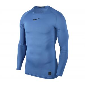 Nike Pro Top Compression Crew LS Maillot Homme, University Blue/Black, FR : S (Taille Fabricant : S)