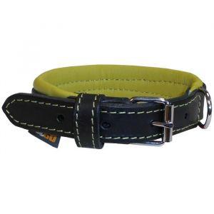 YAGO Collier en cuir - Taille S 27-35 cm - Noir et vert - Pour petit chien