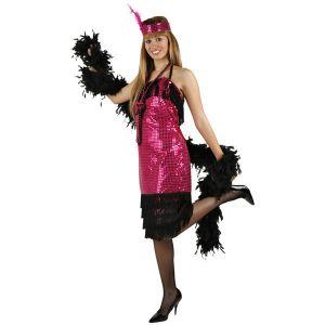 Déguisement charleston robe rose et noir femme (taille M)