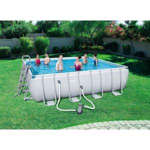 Bestway Kit Piscine Carrée Power Steel Frame Pools L 488cm l 488cm h 122cm 56626