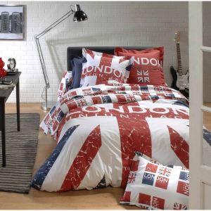 Tradilinge London Union Jack - Housse de couette et 2 taies 100% coton 57 fils (240 x 260 cm)