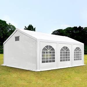 Intent24 Tente De Réception 3x6m Pe 300 G/M² Blanc Imperméable Barnum, Chapiteau, Tente De Jardin