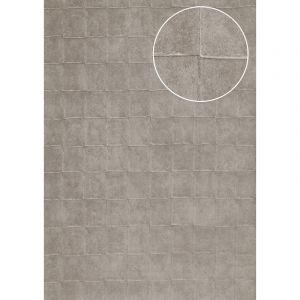 Atlas Papier peint aspect pierre carrelage INS-0805-3 papier peint texturé gaufré avec des figures géométriques et un effet métallique argent gris-platine 7,035 m2