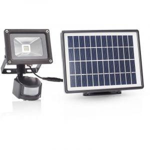 Smartwares Luminaire extérieure solaire avec panneau solaire séparé et capteur de mouvement SFL-180-MS - En aluminium et plastique - IP44 - 550 lumens - Eclairage de sécurité - Couleur ampoule : blanc froid.