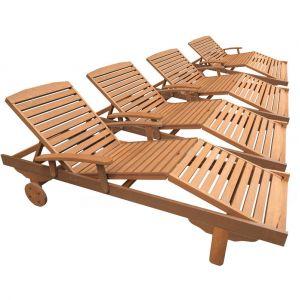 """Viva Green Lot de 4 bains de soleil pliant en bois exotique Singapour - """"Maple"""" - Marron clair"""