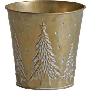 Aubry Gaspard Cache pot en métal doré noel 13 cm