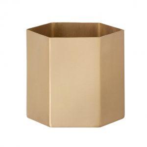 Ferm Living Pot de fleurs Hexagon Large / Ø 13.5 cm x H 12 cm doré en métal