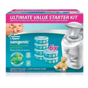 Tommee tippee Sangenic Pack Starter : poubelle à couches + 6 recharges