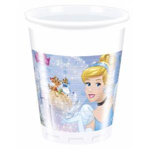 8 gobelets en plastique Cendrillon 200 ml