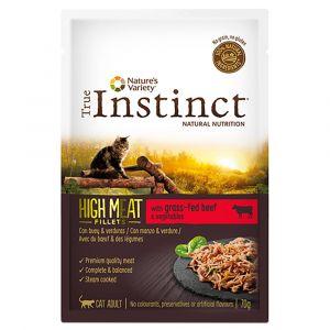 True instinct 8x70g bœuf / légumes High Meat Fillets Sachet pour Chat