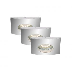 Briloner leuchten 7239-038 Encastrable LED d'exterieur 230v, plafonnier, spots, lampe de jardin, ronde, orientable Métal, GU10, 4 W, Chrome