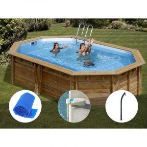 Sunbay Kit piscine bois Cannelle 5,51 x 3,51 x 1,19 m + Bâche à bulles + Alarme + Douche