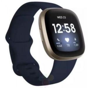 Fitbit Montres multisport Versa 3 Or et Bleu Nuit