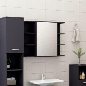 VidaXL Armoire à miroir de salle de bain Gris 80x20,5x64 cm Aggloméré