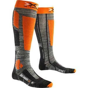 X-Socks Rider 2.0 Chaussettes de Ski Homme, Grey Melange/Orange, FR : S (Taille Fabricant : 35-38)