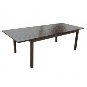 Proloisirs Milano Brush - Table de jardin rectangulaire extensible en aluminium 180/240 x 100 x 74 cm