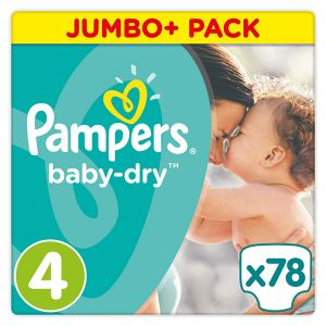 Pampers Baby Dry taille 4 Maxi (8-16 kg) - Jumbo Plus Pack 78 couches