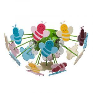 MW-Light 365015105 Plafonnier Enfants Original Design Moderne en Métal Vert avec Abeilles en Acrylique Multicolore pour Chambre d'Enfant Fille ou Garçon 5x40W E14