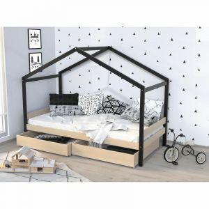 Lit cabane enfant avec tiroirs Bois pin m if Naturel et noir Sommier inclus 90 x 190 cm ETOILE