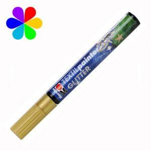Marabu 011903584 - Marqueur pour tissu Textil Painter Glitter, gold, pointe ogive 3 mm