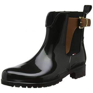 Tommy Hilfiger Bottes et bottines Tommy-hilfiger Buckled Ankle Wellies - Black-Winter Cognac - EU 39