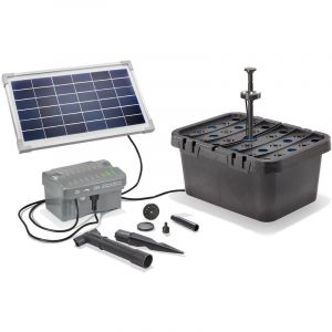 Esotec Kit filtre solaire pour bassin 8/300 avec batterie rechargeable Kit pompe pour bassin de jardin 101068
