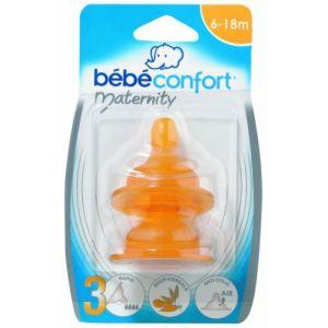 Bébé Confort 30000296 - 2 tétines Maternity base large en caoutchouc naturel T3 Bouillie