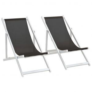 VidaXL Chaises de plage pliables 2 pcs Noir Aluminium et textilène